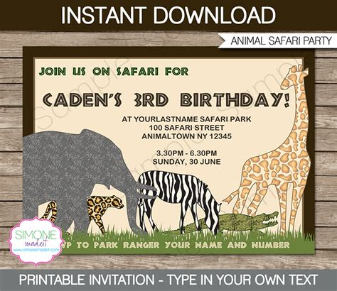 printable zoo animal invitations 6 best images of free printable safari jeep jeep