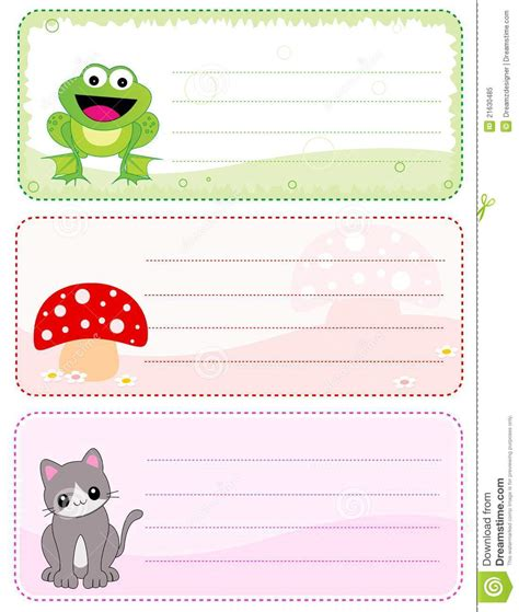 children s name card templates children name cards stock vector illustration of blank