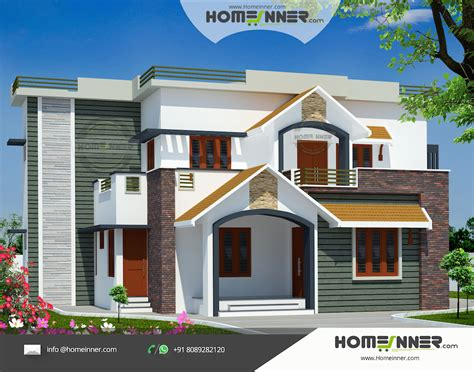 home design 2960 sq ft 4 bedroom indian house design front view