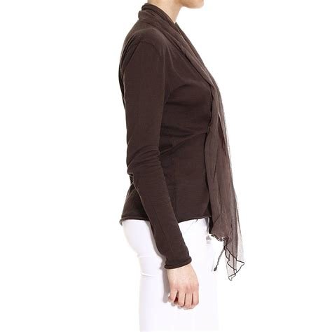 manila grace sweater knit cardigan with scarf in brown lyst