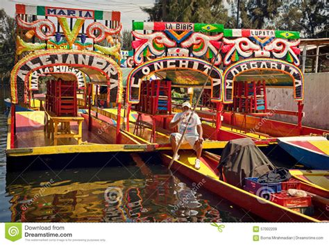 gondola boat driver local boat driver taking rest on his gondola in xochimilco