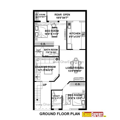 100 Gaj Sq Ft house plan for 27 feet by 50 feet plot plot size 150