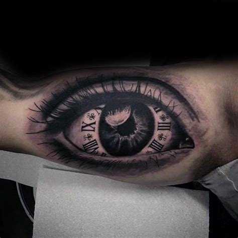 tattoo eye and clock 50 realistic eye tattoo designs for men visionary ink ideas