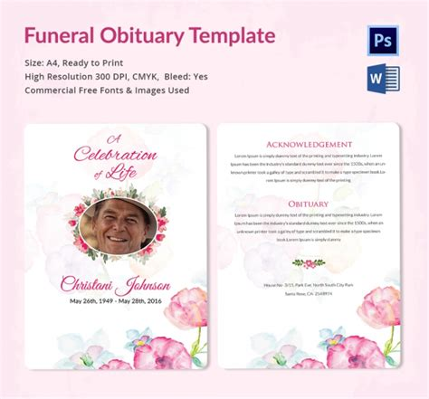 Funeral Obituary Template 22 Free Word Excel Pdf Psd Format Download Free Premium Free Downloadable Obituary Program Templates