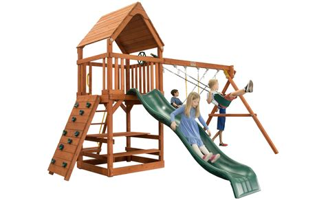 treefrog swing sets toucan fort with wood roof green option swing set