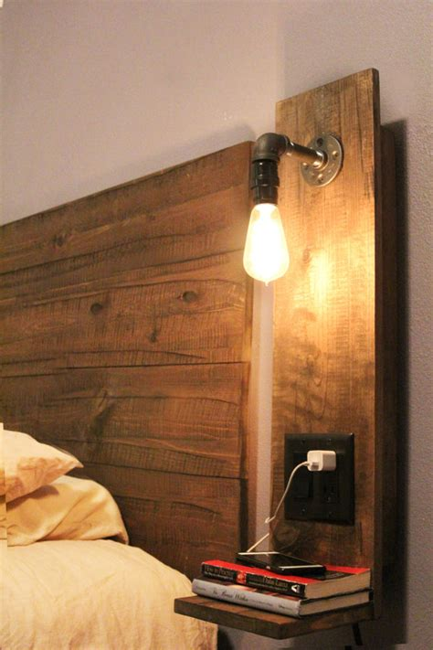 easy diy night light rustic floating night stand w light night stand lights