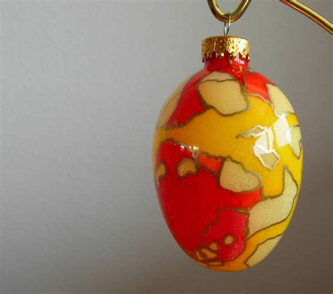 hand painted glass egg ornament
