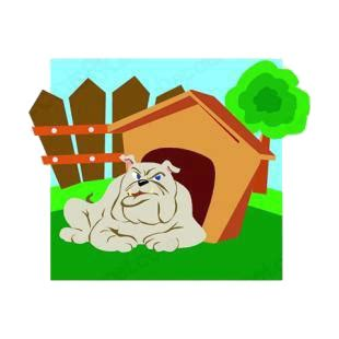 bulldog dog house bulldog with dog house dogs decals decal sticker 6097