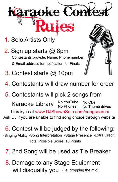 karaoke contest rules dj shawn solo - Sweepstake Rules