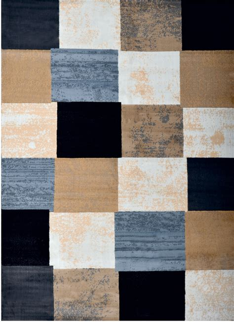 Carpet Tile Area Rug Contemporary Geometric Area Rug Modern Stripe Squares Carpet Actual 7 10 Quot X10 5 Quot Ebay
