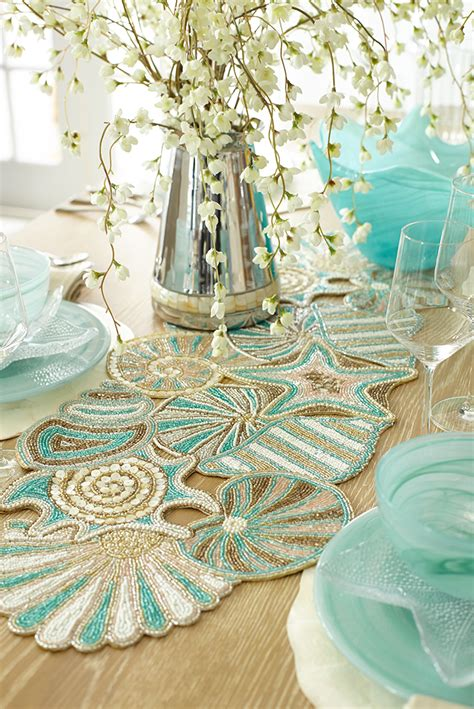 beaded table runners beaded shells table runner clams horn and salmon