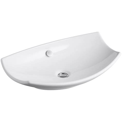 vessel sink drain with overflow kohler vox rectangle vitreous china vessel sink in white