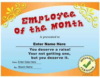 Employee Of The Month Funny Certificate Pdf My Thoughts Pinterest Funny Certificates Award Email Template