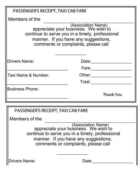 taxi fare receipt template 5 sle taxi receipt templates free sle exle