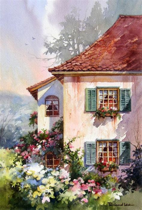 watercolor house painting watercolor home pinterest green shutters watercolor painting of switzerland roland lee