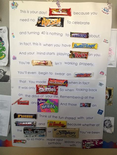 Happy Birthday Bar Card Best 20 Candy Poems Ideas On Pinterest