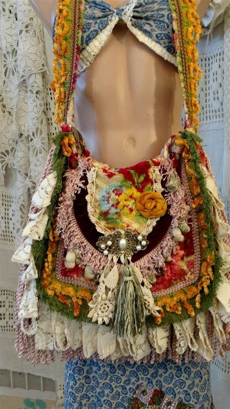 Handmade Hippie Bags - handmade shoulder carpet bag fringe vintage lace hippie
