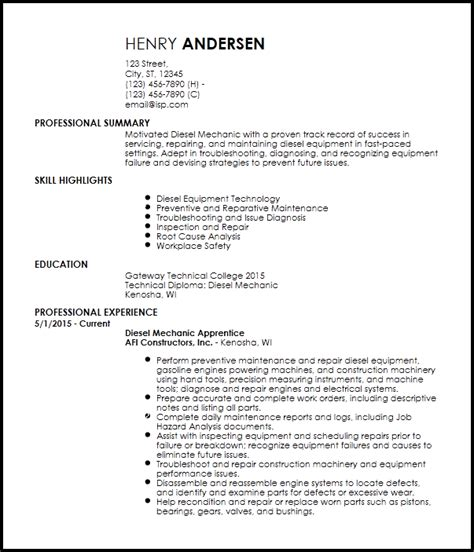 Mechanic Resume Template by Free Entry Level Diesel Mechanic Resume Templates Resumenow