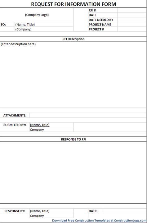 Free Request For Information Rfi Form Template Contractor Request For Template