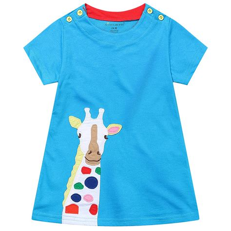 giraffe pattern clothes 2017 new brand summer baby girls pattern princess dress