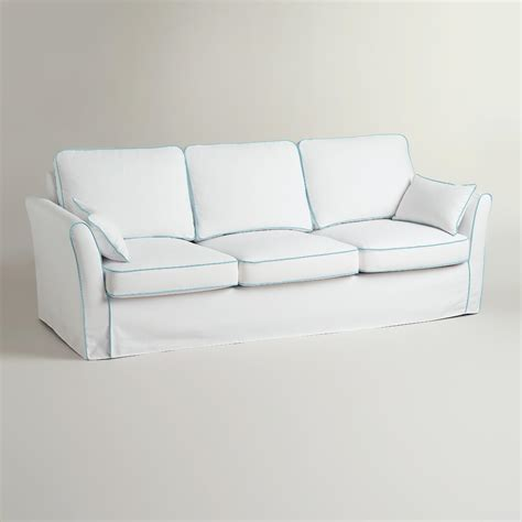 white slip covers for sofa white and blue luxe 3 seat sofa slipcover world market