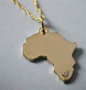 Custom Gold Necklace 10k Solid Gold Africa Pendant Or Charm With By Francesandco