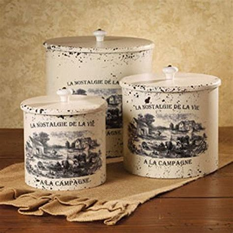 french country kitchen canisters new french country farmhouse chic shabby 3 white canister