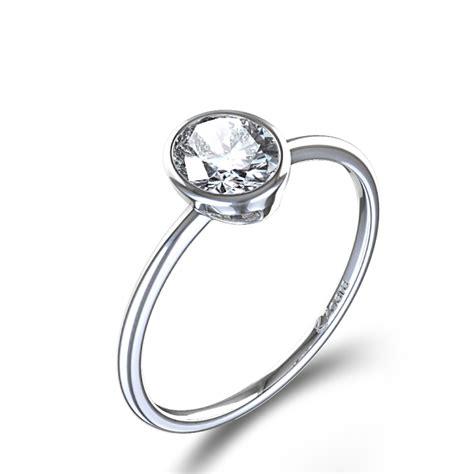 Bezel Set Oval Cut Diamond Ring in Palladium