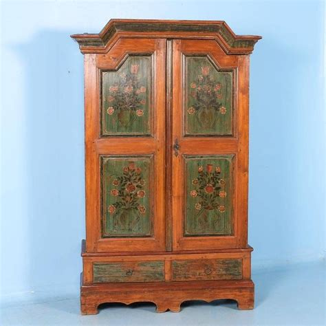 antique painted armoire antique danish armoire with original painted panels with