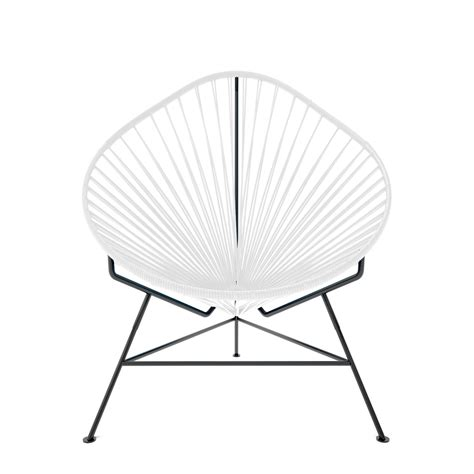 innit acapulco chair black acapulco chair white weave on black frame innit