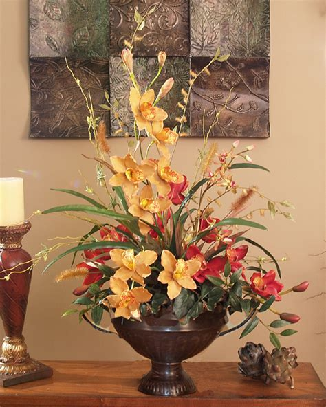 flower arrangements for home decor red and gold cymbidium silk orchid arrangement o126 59