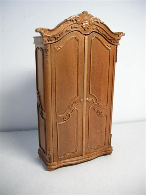 doll house makers dollhouse miniature famous furniture 6834 walnut finish wardrobe ebay