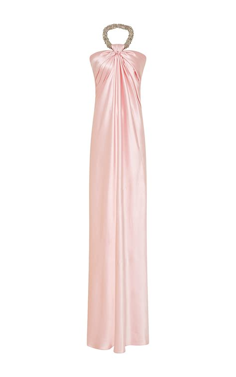 beaded halter dress lyst naeem khan beaded halter silk gown in pink