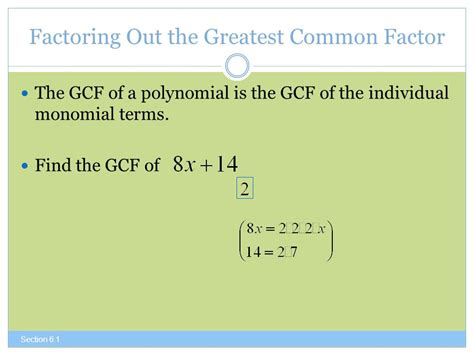 Factor The Common Factor Out Of Each Expression Worksheet by The Greatest Common Factor And Factoring By Grouping Ppt