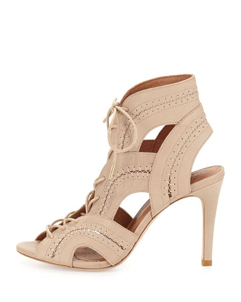 pink lace up sandals joie remy lace up sandal in beige dusty pink sand lyst