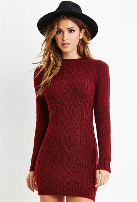 knit outfit cable knit sweater dress hairstyle for