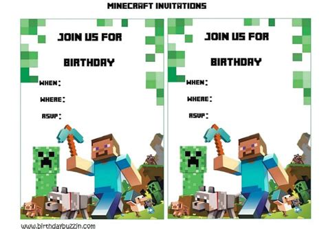 minecraft birthday card template free blank birthday invitation template minecraft free