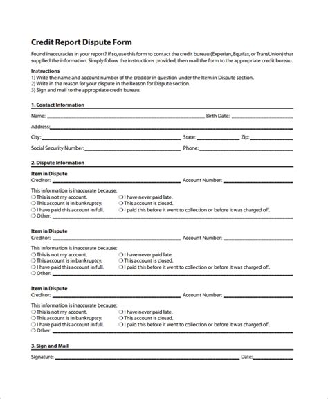 10 Credit Templates Free Sle Exle Format Free Premium Templates Template To Dispute Credit Report