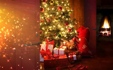 presents lights tree with presents wallpaper