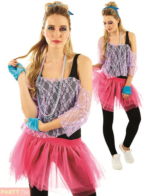 1980s tutu kit adults neon disco fancy dress womens