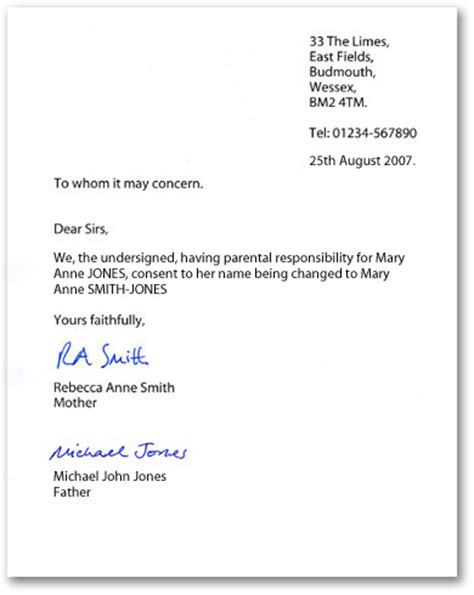 Exle Of Parents Consent Letter For Exle Letters Of Consent When Changing A Child S Name By Deed Poll