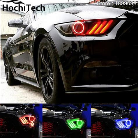 mustang eye headlights for ford mustang 2015 2016 2017 rgb led headlight rings
