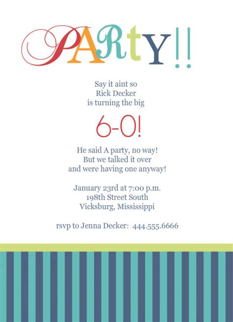 Template For 60th Birthday Party Invitation Orderecigsjuice Info 60th Birthday Invitation Templates Free