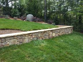 Tennessee field stone retaining walls planters traditional landscape