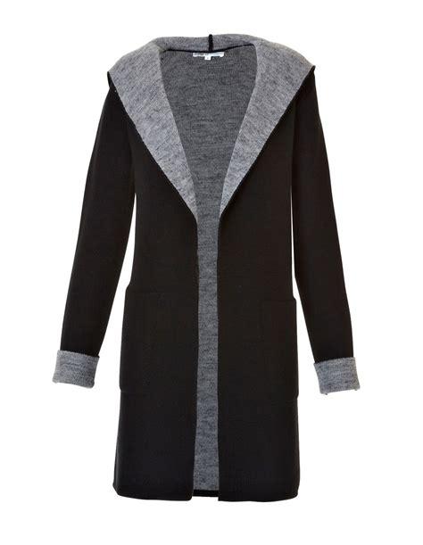 Kemeja Sweater Black White hooded open drape black sweater cleo