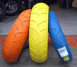 Orange Colored Car Tires Challenge Motorcycle Tires