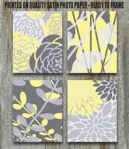 Nursery decor yellow art print set gray white yellow to match bedding
