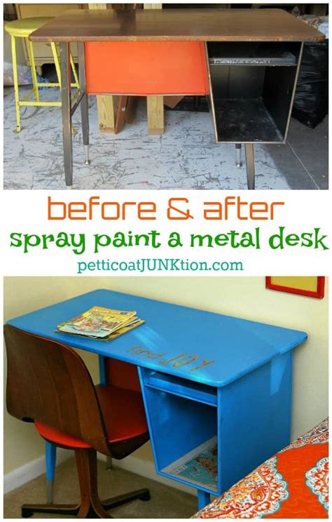 painting a metal desk i used spray paint on the metal desk petticoat junktion