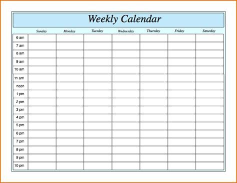 blank week calendar template weekly by hour printable 11 printable weekly calendar with hours
