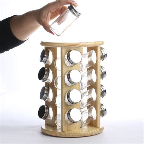 Wooden Rotating Spice Rack Revolving Wood Spice Rack New Items